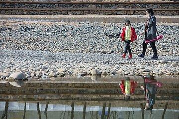 CHINA-GANSU-LANZHOU-YELLOW RIVER-WATER LEVEL-DROP (CN)