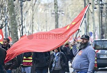 Gewerkschafter demonstrieren  Marseille