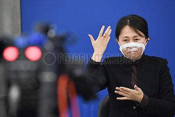CHINA Beijing-SIGN LANGUAGE INTERPRETER-TRANSPARENT Gesichtsmaske (CN)