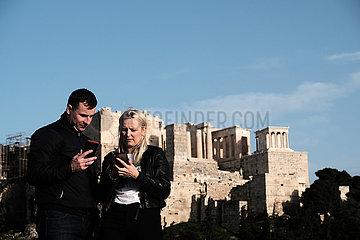 GREECE-ATHENS-FILOPAPPOU HILL-VIEW