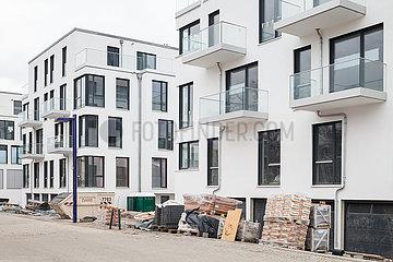 Neubau von exklusiven Wohngebaeuden im Dora-Benjamin-Park in Berlin-Friedrichshain