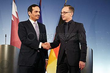 Berlin  Deutschland - Scheich Al Thani und Heiko Maas  Aussenminister Katars und Deutschlands.