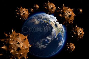 CGI Visualisierung: Erde Coronavirus