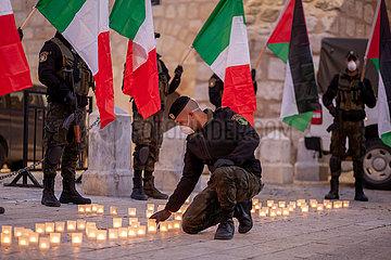 MIDEAST-BETHLEHEM-COVID-19-ITALY-SOLIDARITY DEMONSTRATION