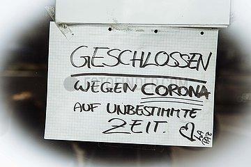 Wegen Coronavirus geschlossene Gaststätte