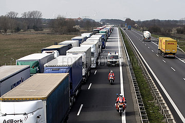 Cargo Truck Tailbacks  Germany-Poland Coronavirus Pandemic