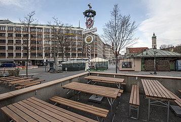 Marienplatz  Muenchen  menschenleer  26.03.2020