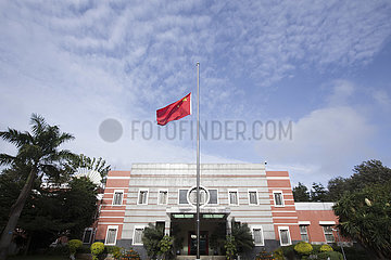 KENYA-NAIROBI-COVID-19-CHINESE EMBASSY-NATIONAL FLAG-HALF-MAST