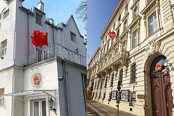 ÖSTERREICH-WIEN-COVID-19-CHINESE Botschafts NATIONAL FLAG-Halbmast