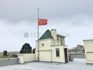 US-SAN FRANCISCO-COVID-19-Generalkonsulat CHINA-NATIONAL FLAG-halbmast