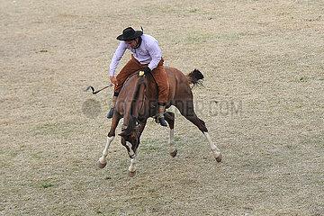 Jesus Maria  Reiter versucht sich auf einem buckelnden Pferd zu halten