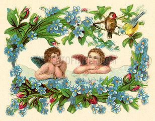 zwei Engelchen im Blumenkranz  Poesiebild  1898