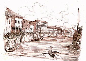 Singapur Republik  Malaysia. James Cook reist 1835