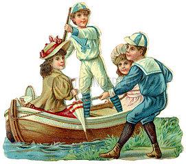 vier Kinder mit Ruderboot  beim Spielen  Poesiebild  1898