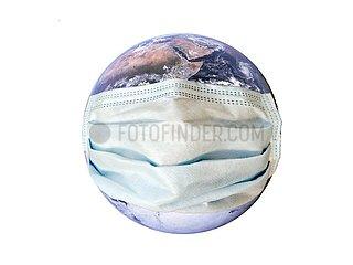 Planet Erde mit Mundschutz