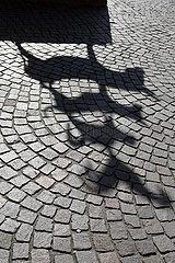 Deutschland  Bremen - Schatten der Bremer Stadtmusikanten  das Wahrzeichen der freien Hansestadt
