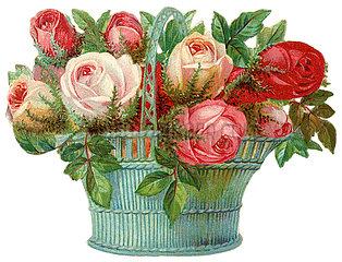 sehr dekorativer Rosenkorb  Poesiebild  1898