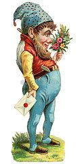 Zwerg mit Blumenstrauss  1898