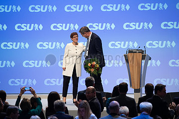 Markus Soeder and Annegret Kramp-Karrenbauer at the CSU Party Congress in Munich