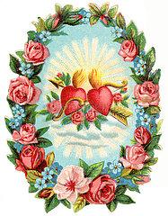 zwei Herzen im Blumenkranz  Poesiebild  1898
