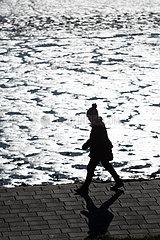 Deutschland  Bremerhaven - Spaziergaengerin an der Muendung der Weser zur Nordsee