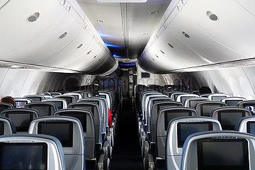 Minneapolis  USA  leere Sitze in einer Flugzeugkabine