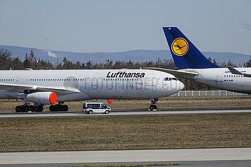 Coronakrise  Lufthansa Flugzeuge geparkt am Flughafen Frankfurt  Frankfurt am Main  Hessen  Deutschland