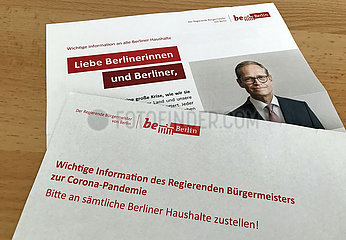 Berlin  Deutschland  wichtige Information des Regierenden Buergermeisters Michael Mueller zur Corona-Pandemie an alle Haushalte Berlins