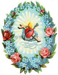 Glaube  Liebe  Hoffnung  christliche Symbole  im Blumenkranz  Poesiebild  1898