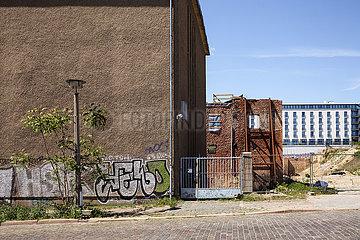 Fabrikruinen des ehemaligen Boehmischen Braushaus in der Pufendorfstrasse in Berlin-Friedrichshain