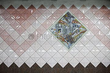Mosaik des Derschprom in einer Metrostation in Charkiw