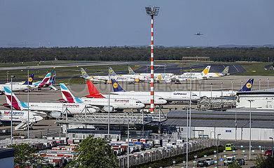 Flughafen Duesseldorf  Flugzeuge der Fluggesellschaften Condor  Eurowings und Lufthansa in Parkposition in Zeiten der Coronakrise  Nordrhein-Westfalen  Deutschland