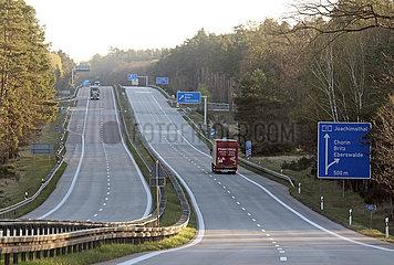 Chorin  Deutschland  nur wenige LKW auf A11 in Zeiten der Corona-Krise