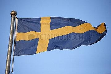 Berlin  Deutschland  Nationalfahne von Schweden