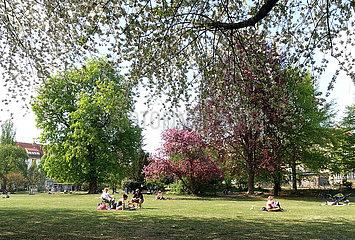 Berlin  Deutschland  Menschen relaxen im Fruehling im Bosepark