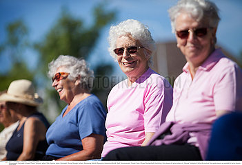 ELDERLY PERSON PRACTISING A SPORT