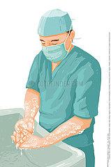 HAND WASHING IN HOSPITAL Illustration