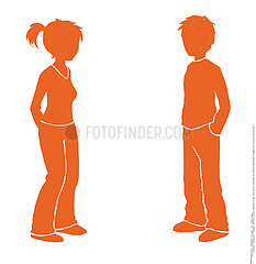 SILHOUETTE OF A COUPLE Illustration