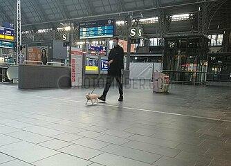 Mann mit Hund im Frankfurter Hauptbahnhof