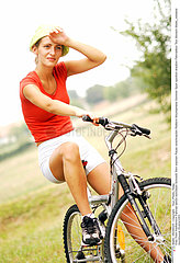 Woman and bicycle