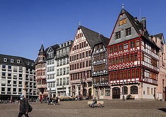 Fachwerkhaeuser am Roemerberg  Frankfurt am Main  Hessen  Deutschland