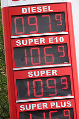 Berlin  Deutschland: Treibstoffpreise waehrend der Corona Pandemie