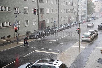 Heftiger Regen in München