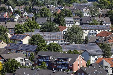 Solarsiedlung in Bottrop  Ruhrgebiet  Deutschland  Europa