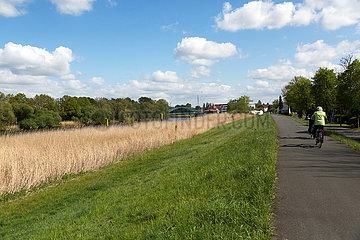 Deutschland  Bremen - Weg auf einem Deich am Fluss Lesum  Bremen-Nord