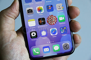 Virusalarm auf dem Smartphone mit Tracing-App