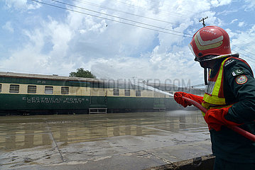 PAKISTAN-LAHORE-RAILWAY STATION-DISINFECTION