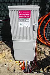 Telekom Verteilerkasten fuer schnelles Internet  DSL fuer die Haushalte  Datteln  Ruhrgebiet  Nordrhein-Westfalen  Deutschland