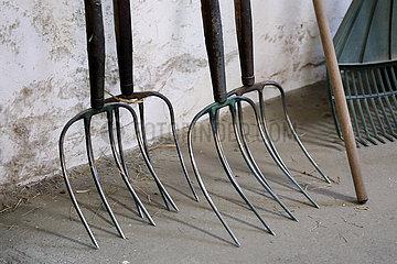 Gestuet Goerlsdorf  Forken lehnen an einer Stallwand