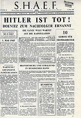 Reproduktion: Titelblatt der deutschen Fallschirmausgabe des SHAEF vom 02.05.1945
